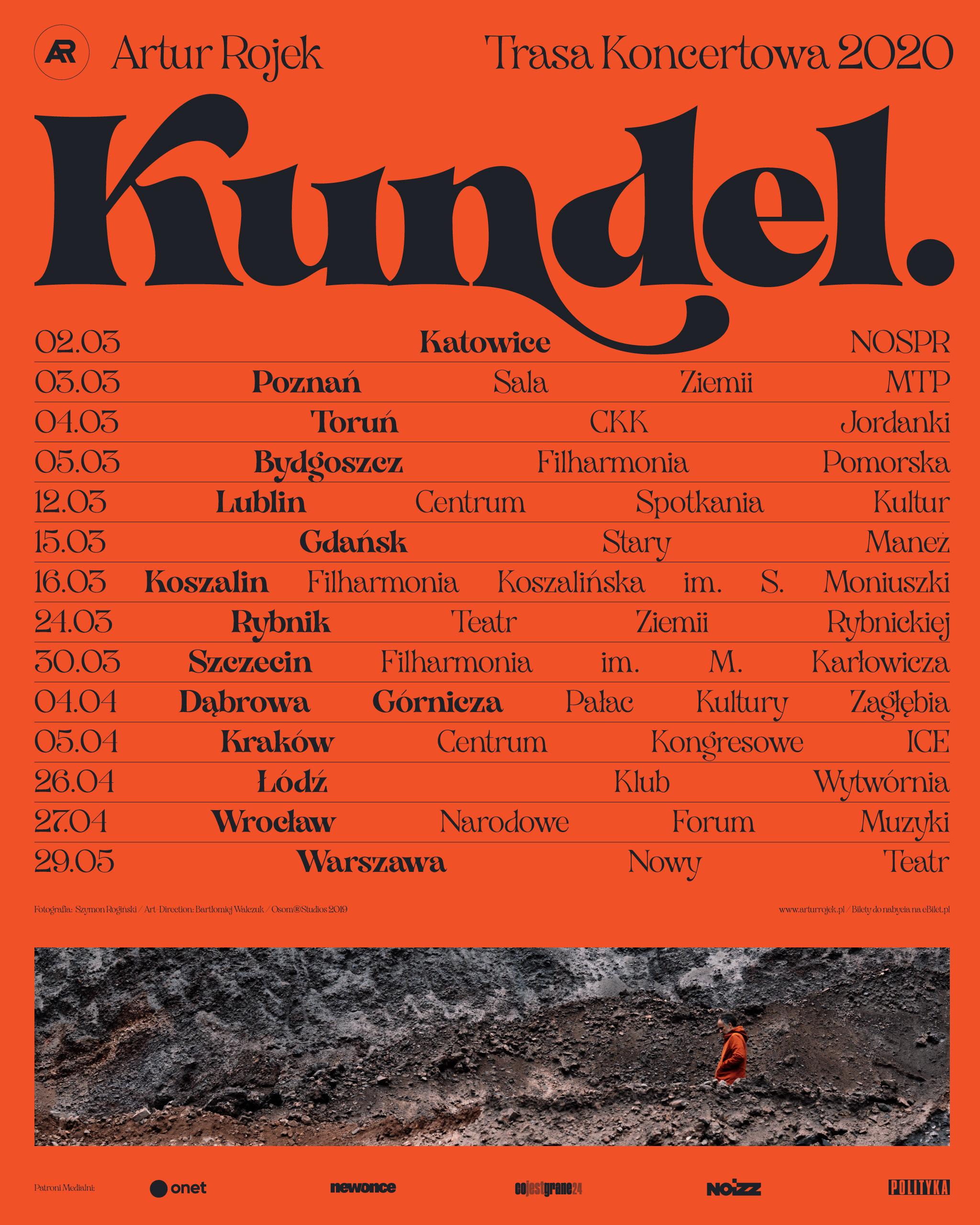 """Plakat trasy """"Kundel"""" Artura Rojka"""